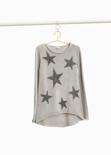 Star print pullover with lurex