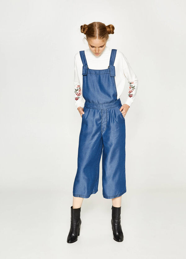 Solid colour lyocell dungarees | OVS