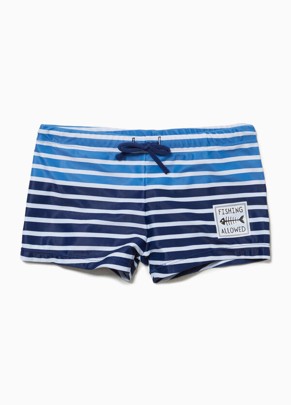 Stretch swim boxer shorts with drawstring