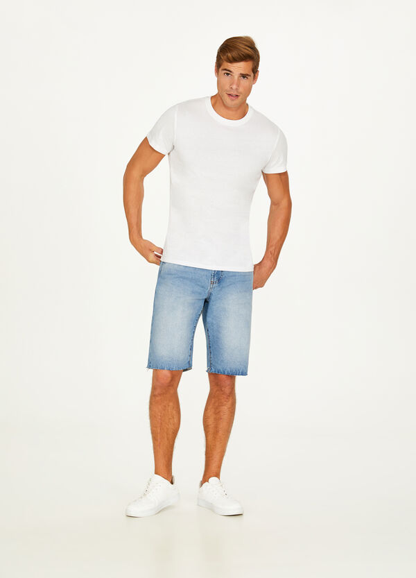 Denim Bermuda shorts with faded effect