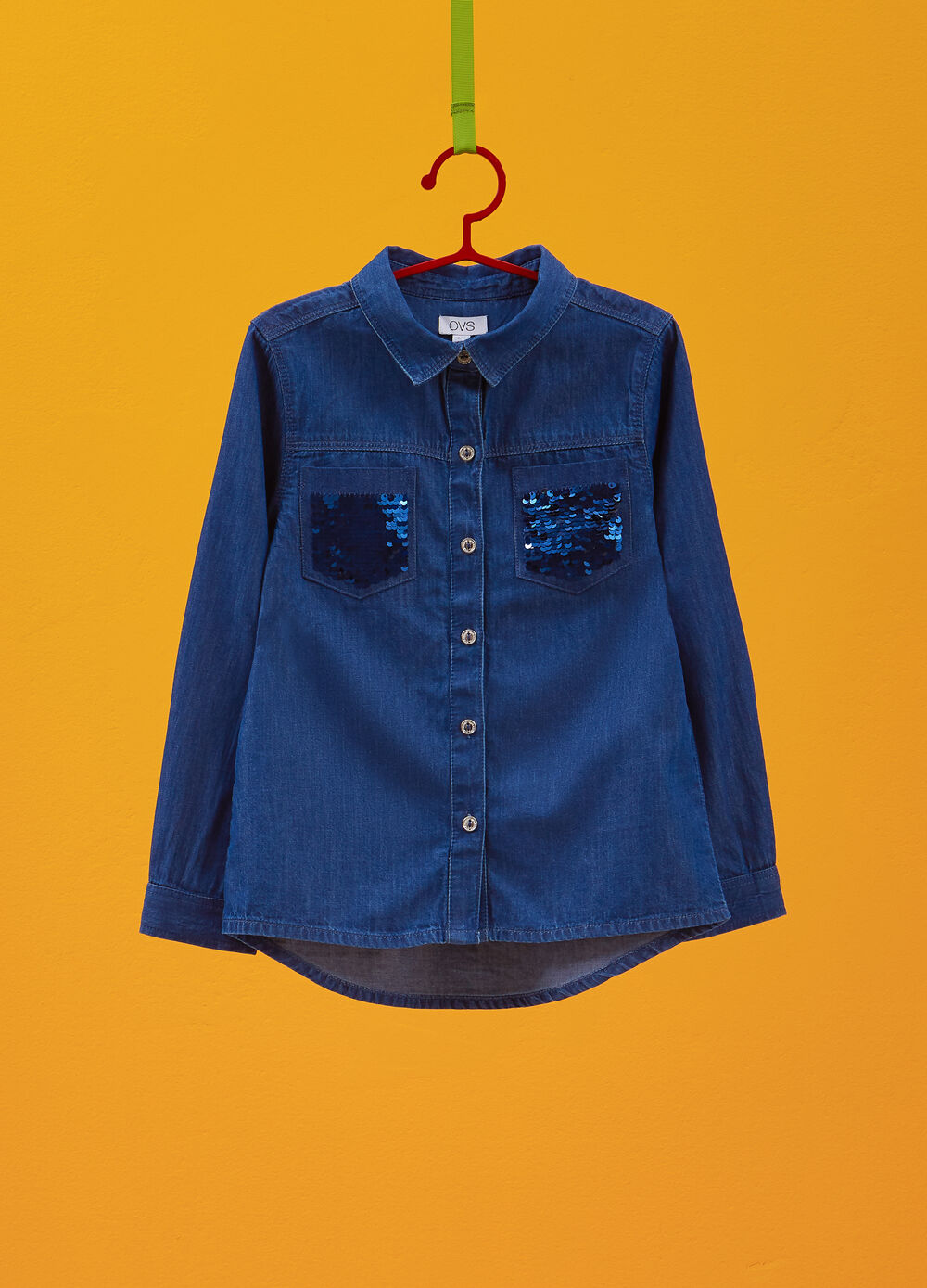 Denim shirt with pockets and sequins