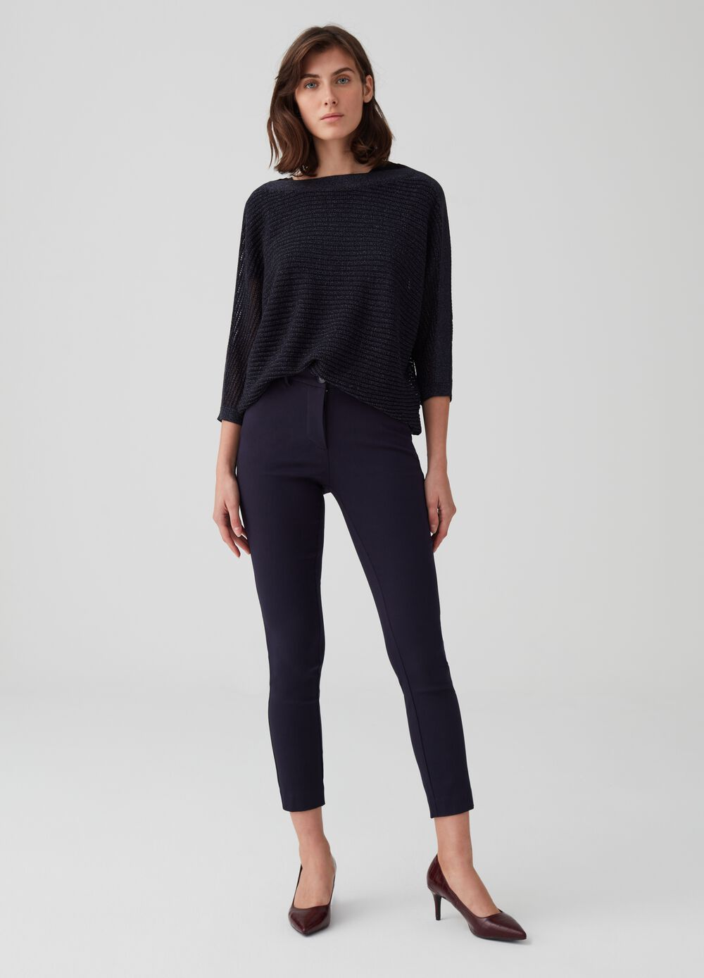 High-waisted stretch crop trousers with pockets