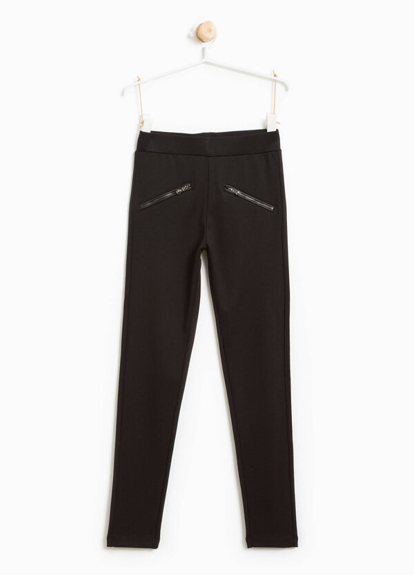 Stretch viscose leggings with zip | OVS