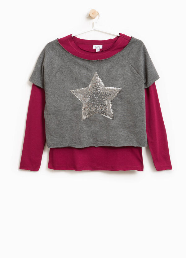 Faux layered sweatshirt in cotton with raw edges | OVS
