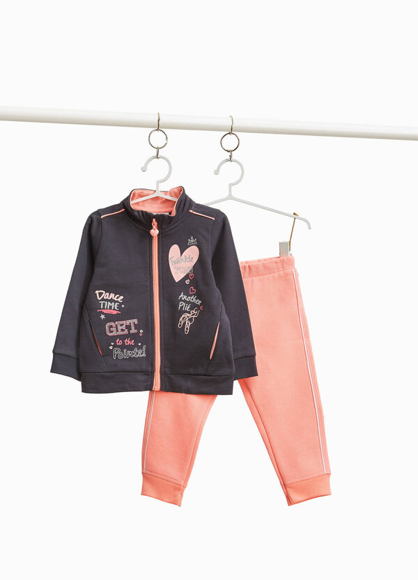Tracksuit with sweatshirt and trousers with glitter print