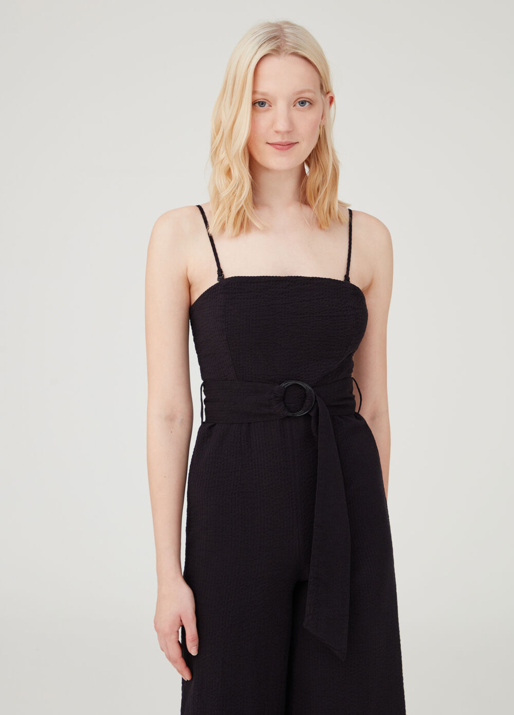 Pinafore with shoulder straps and belt at the waist