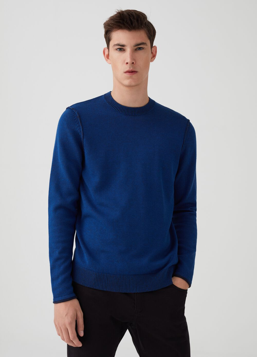 Mélange pullover with two-tone weave