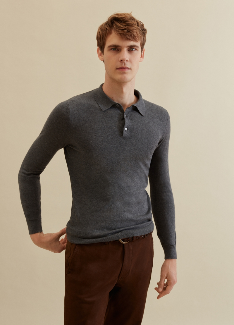 PIOMBO cashmere blend pullover with collar image number null