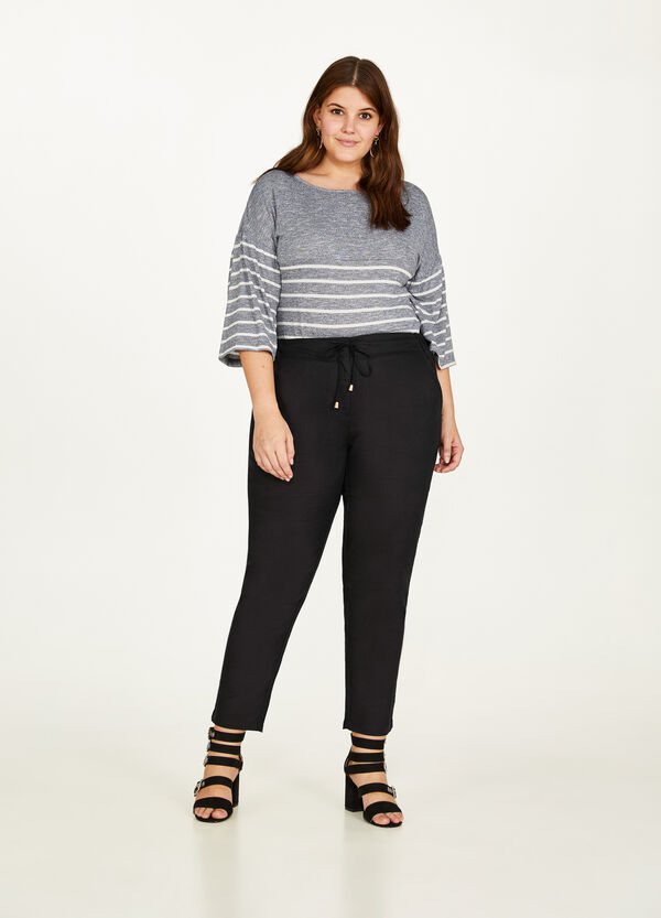 Curvy cotton and linen trousers with drawstring