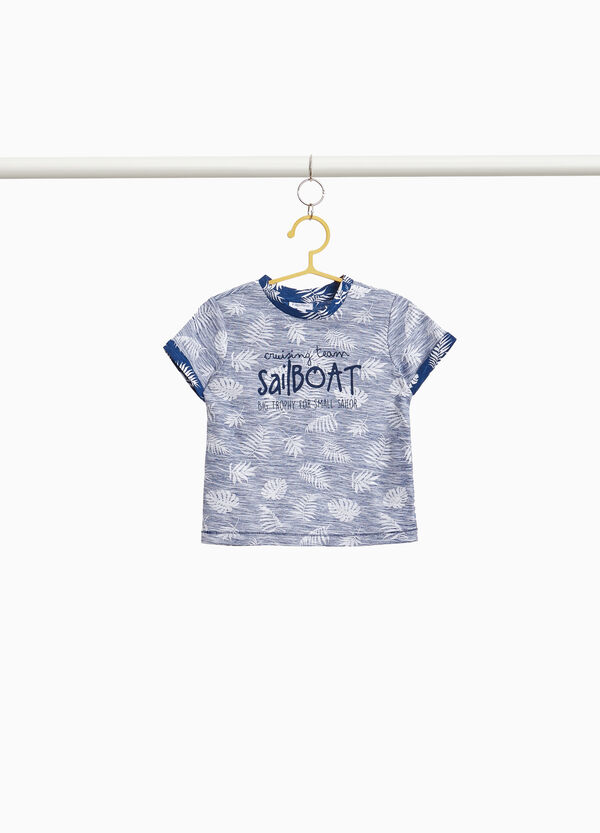 T-shirt cotone stampa palme all-over
