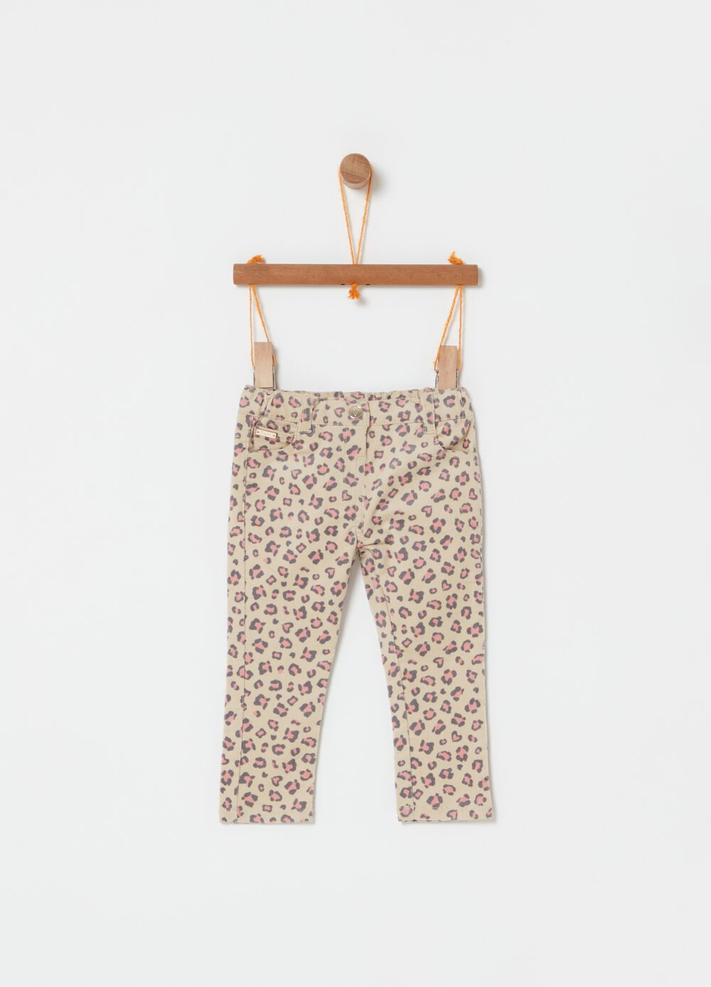 Five-pocket animal print trousers