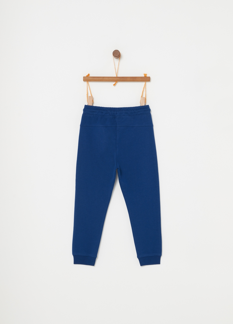 Terry towelling cotton trousers with drawstring image number null