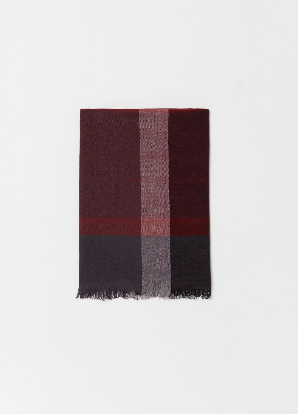 Pashmina with frayed check trim