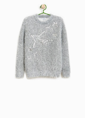 Knitted pullover with star sequins