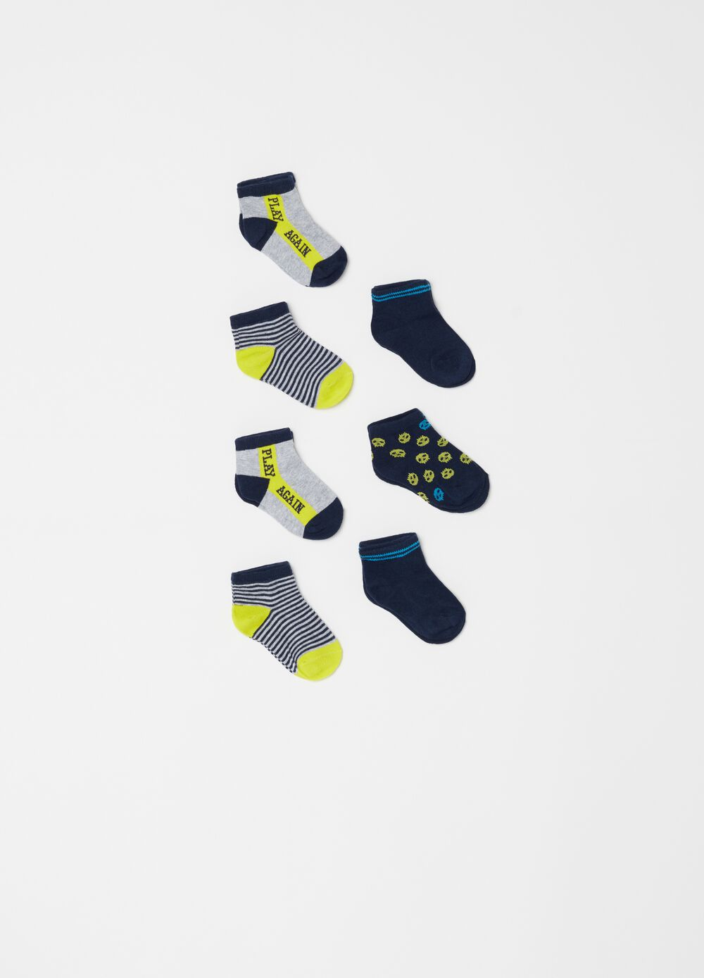 Seven-pair pack embroidered and striped socks