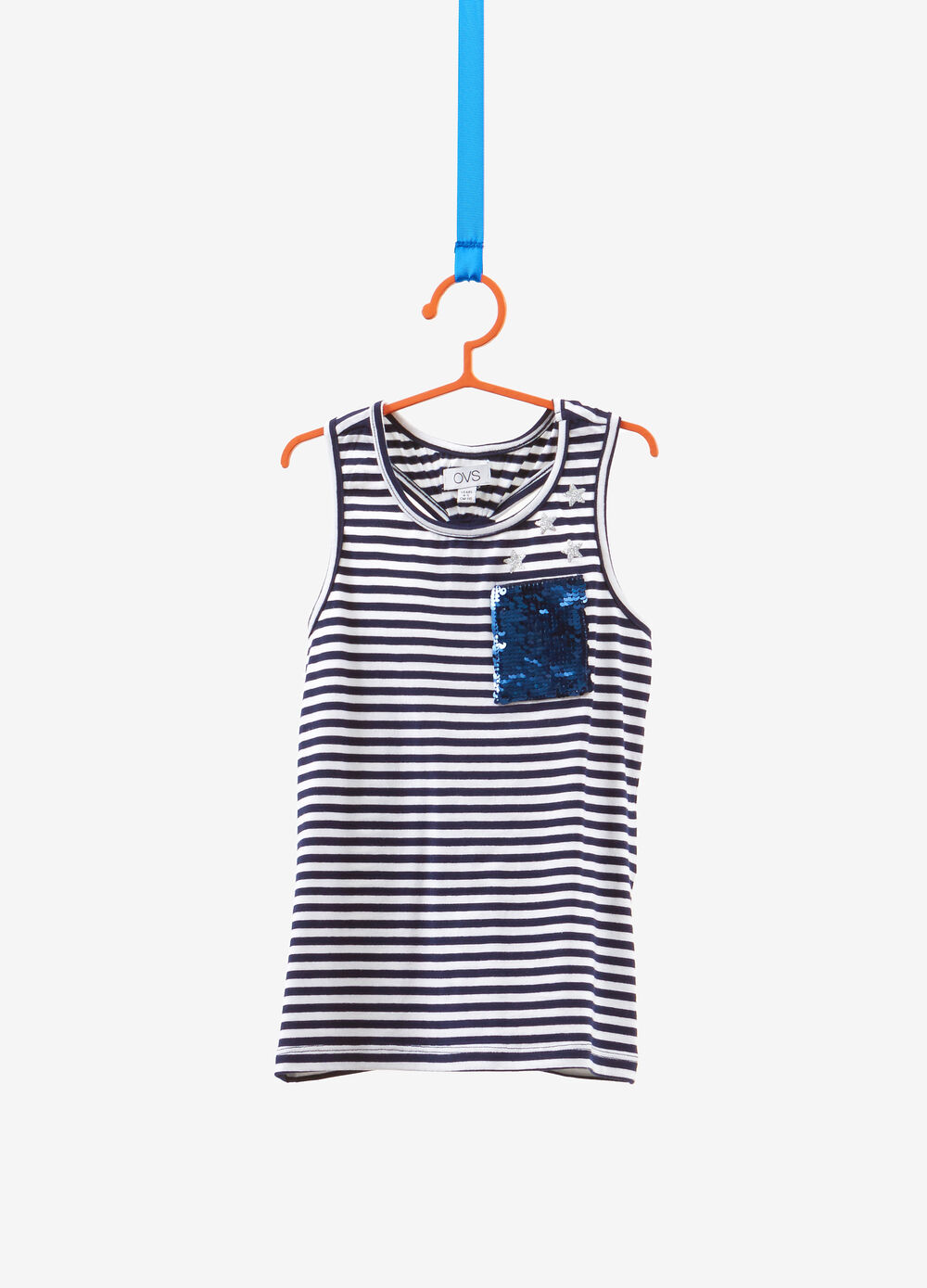 Striped stretch cotton top with sequins