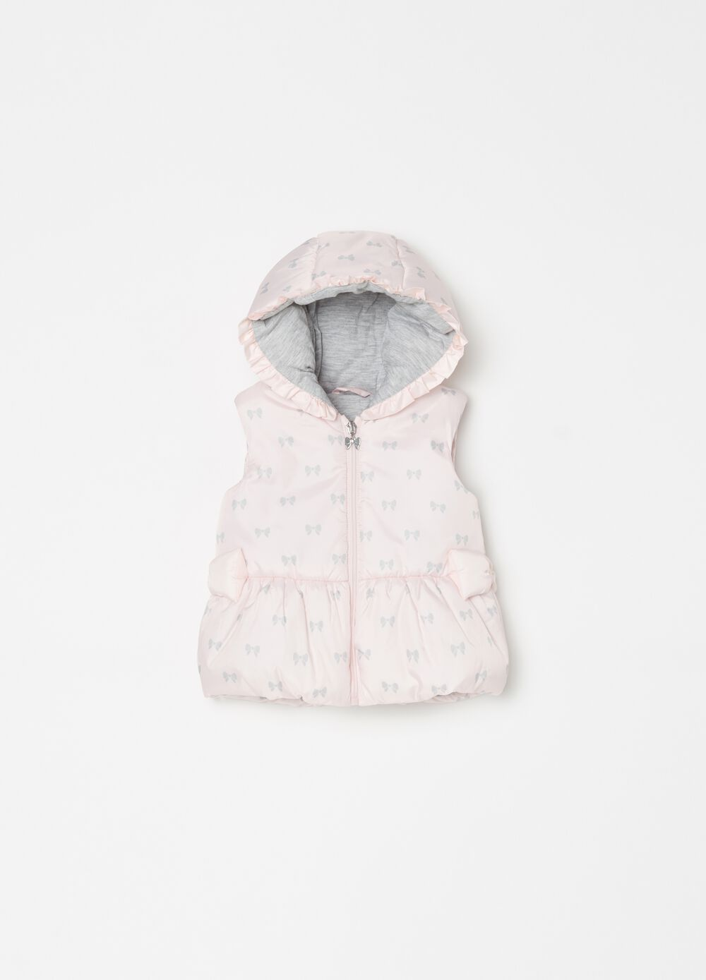 Padded gilet with bow pattern