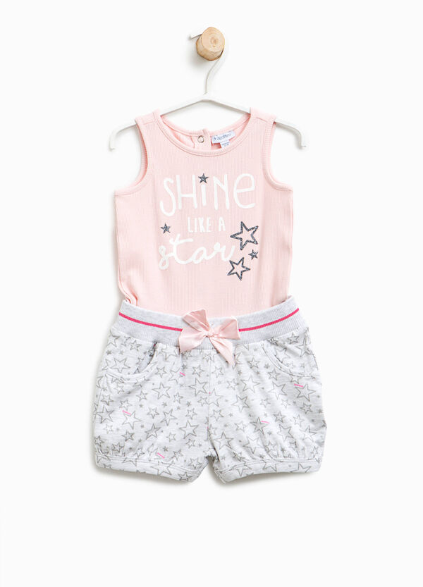 Sleeveless romper suit with faux layer