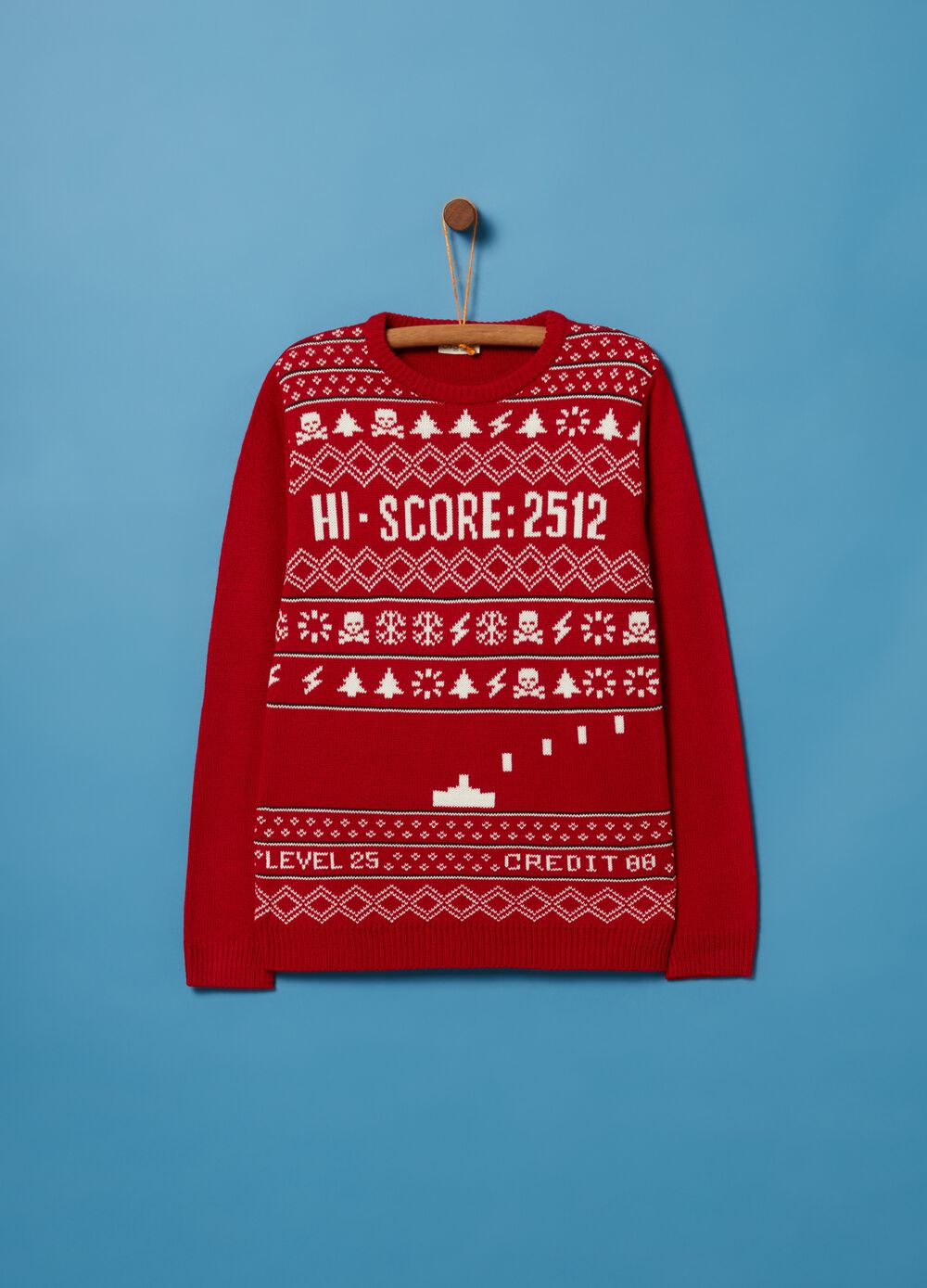 Knitted Christmas jumper with round neck