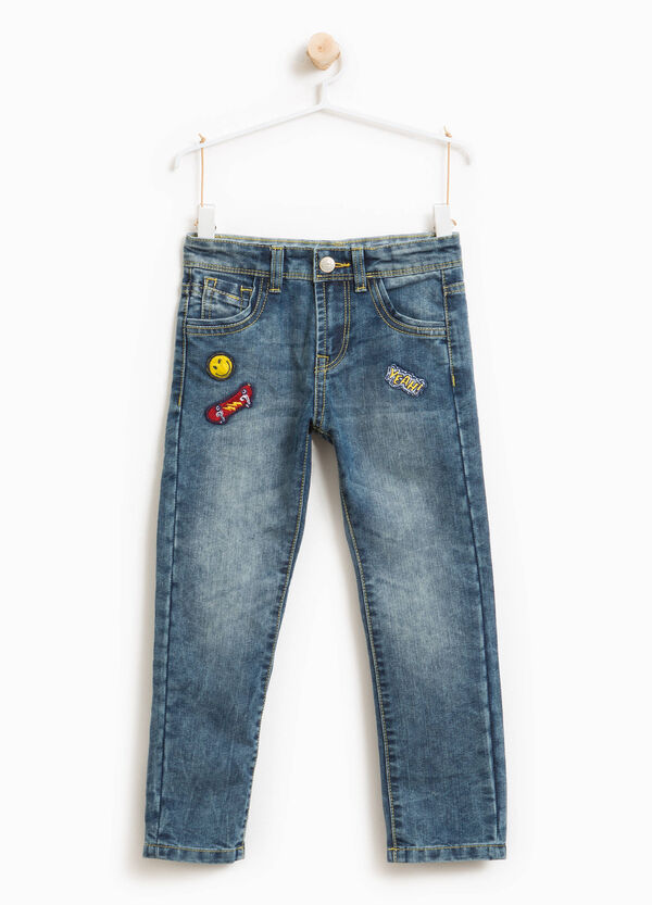 Worn-effect jeans with patches | OVS