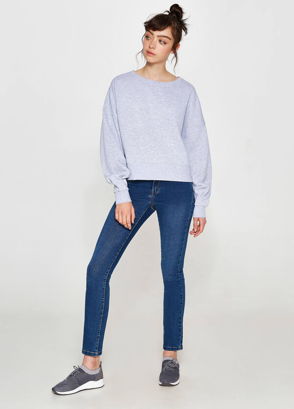 Cotton blend sweatshirt with wide sleeves