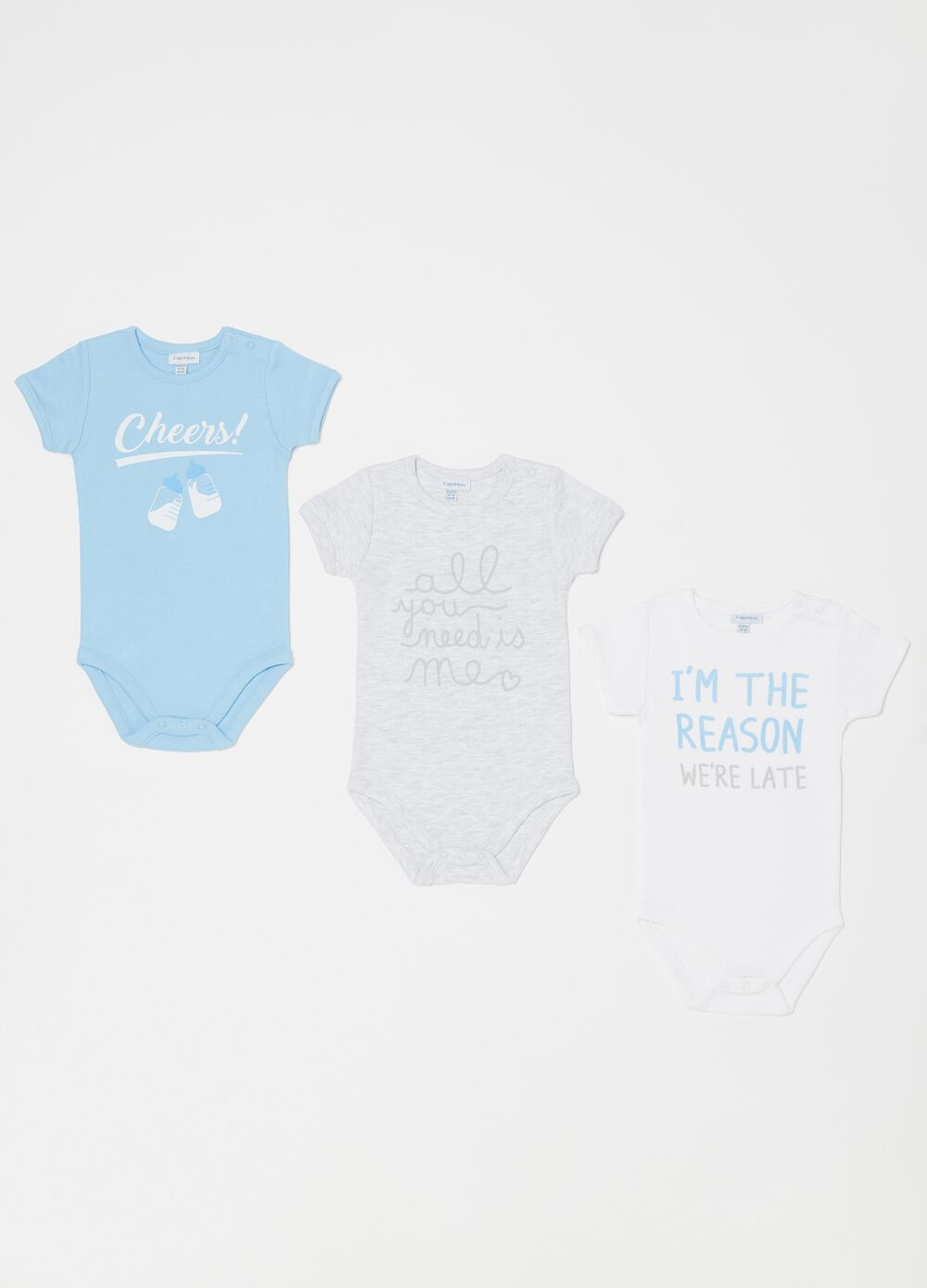 Three-pack bodysuits in biocotton with print
