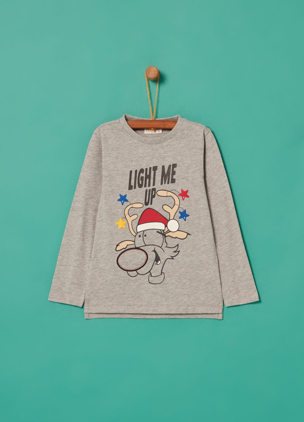 Mélange T-shirt with Christmas reindeer print
