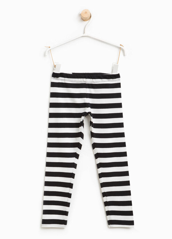 Striped stretch cotton leggings | OVS