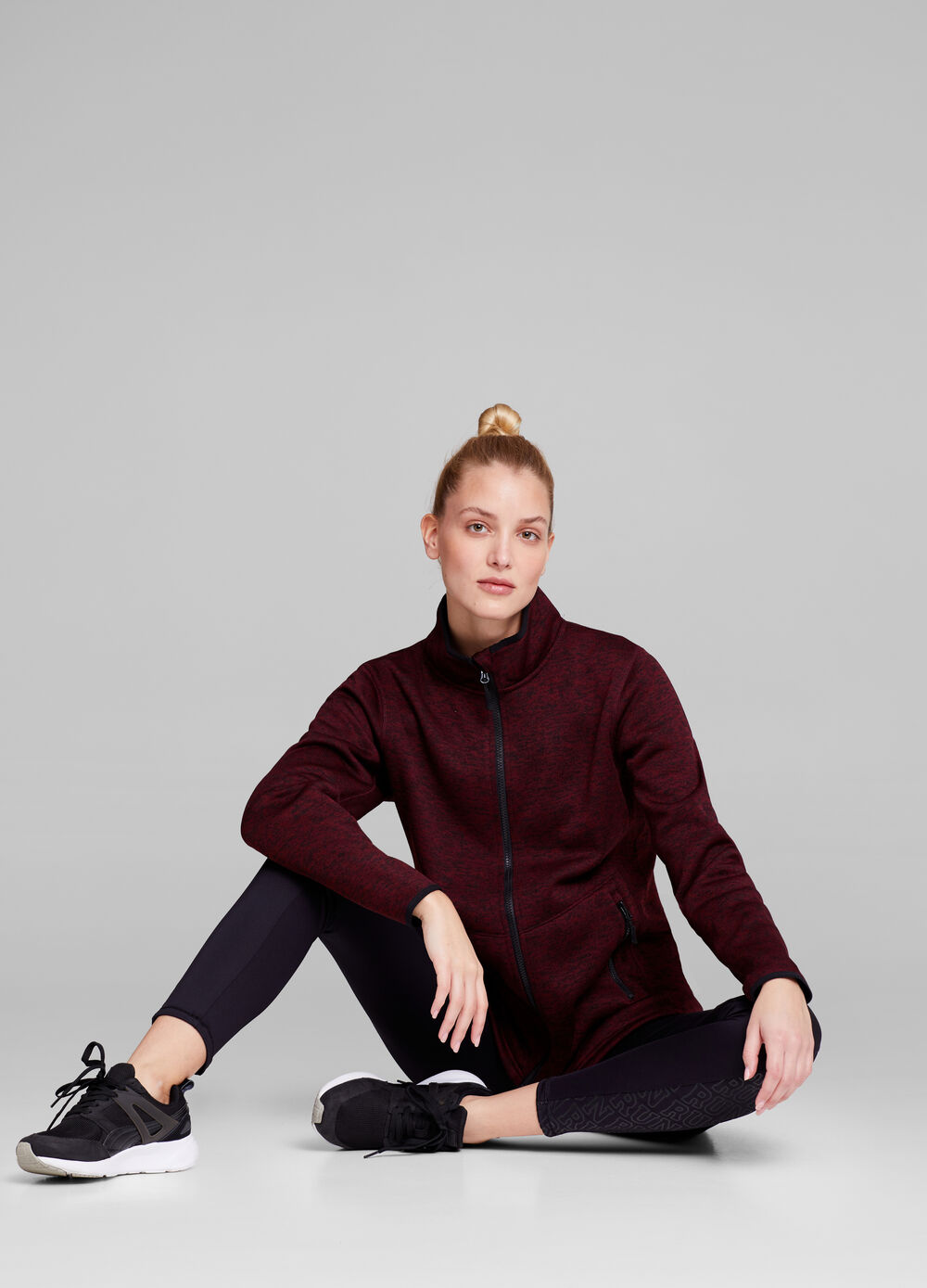 Mélange gym jacket with high neck
