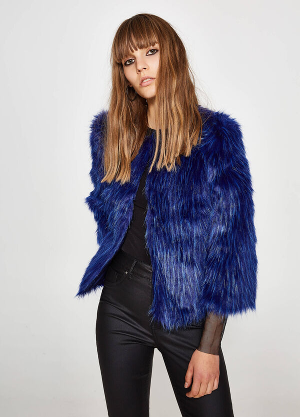 Faux fur jacket with round neck | OVS