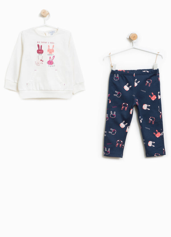 Rabbit patterned 100% cotton tracksuit | OVS