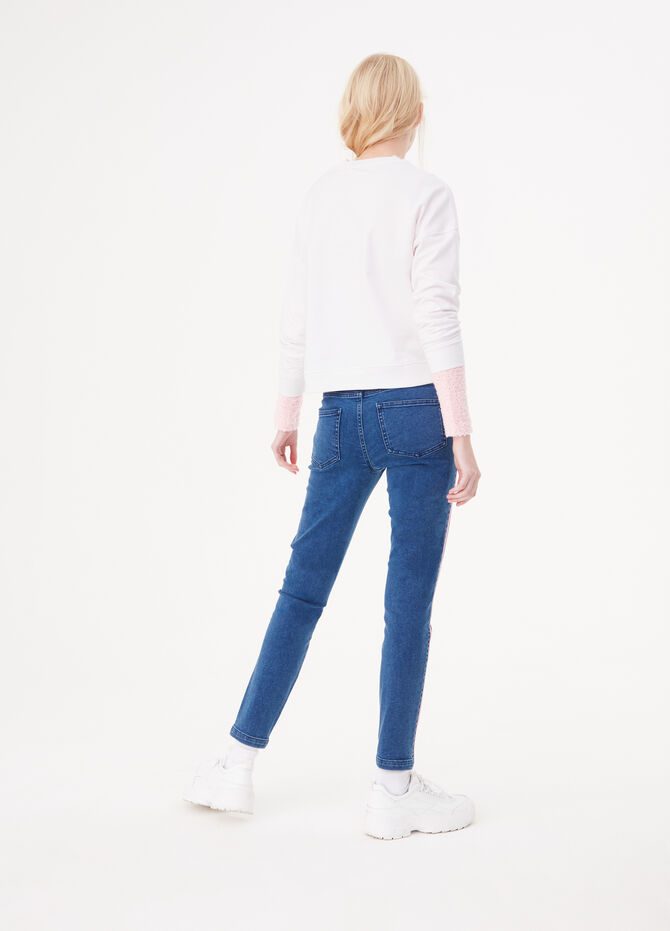 Skinny jeans with lurex side bands