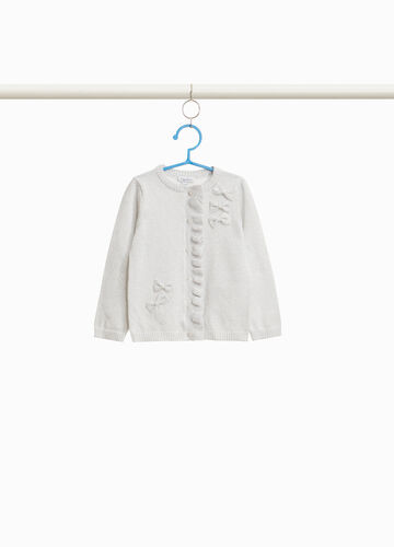 Cotton cardigan with lurex and flounce