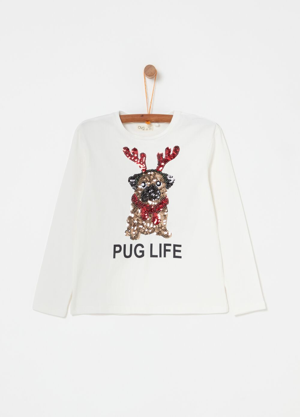 T-shirt with sequins and puppy print