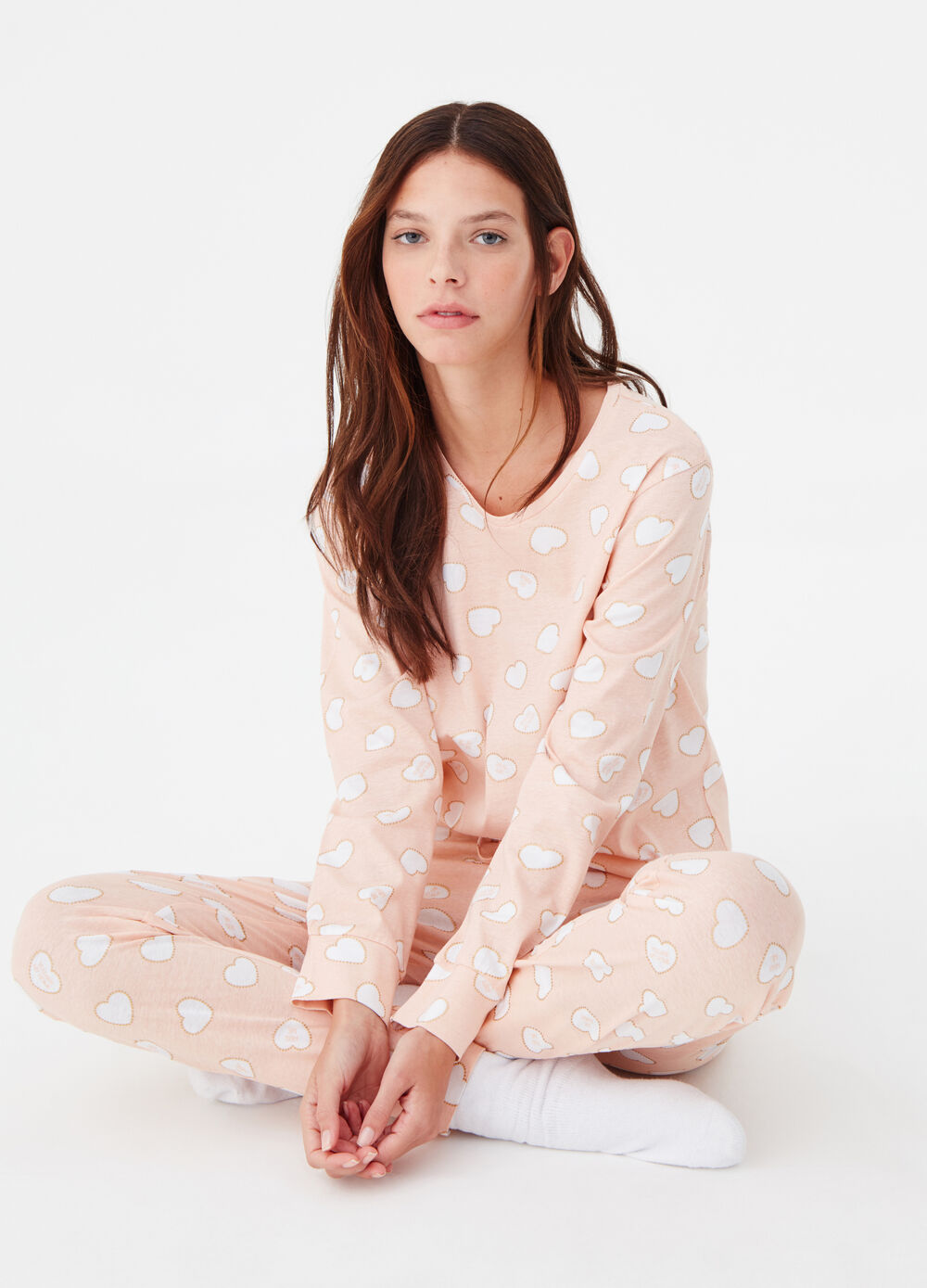 Cotton pyjamas with glitter pattern print