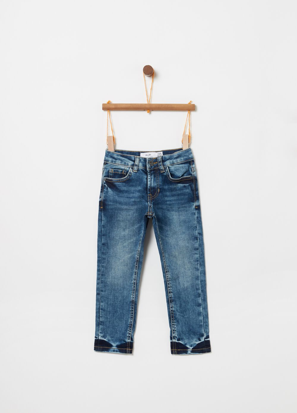 Slim-fit stretch jeans with misdyed and washed effect