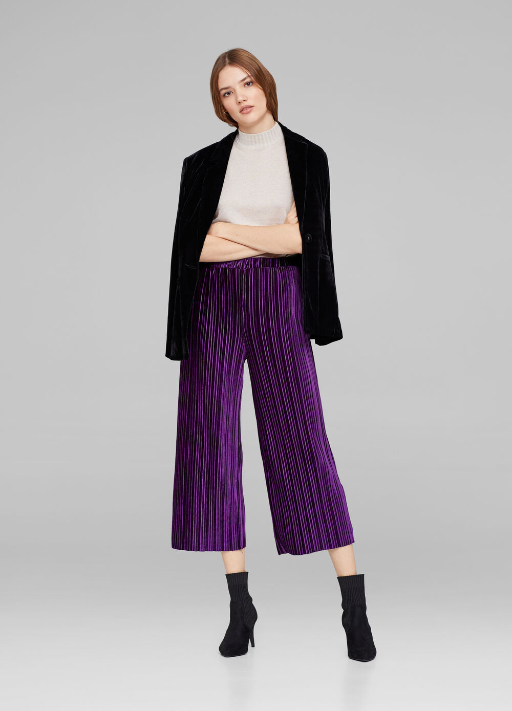 Stretch French knickers in pleated velvet