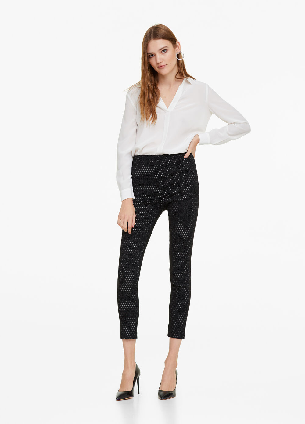 Stretch jacquard trousers with lurex