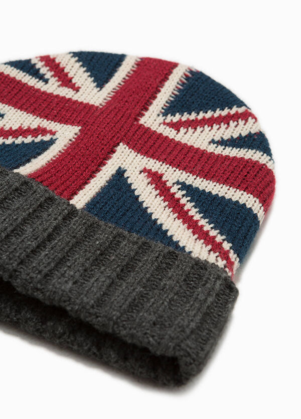 Knitted beanie cap with English flag | OVS