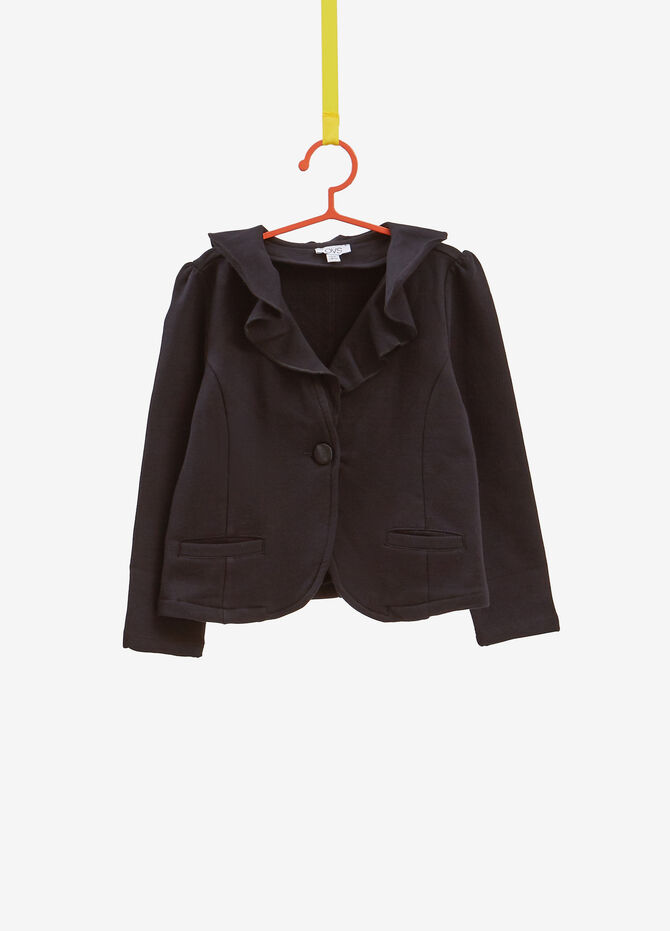 Stretch cotton jacket with flounce