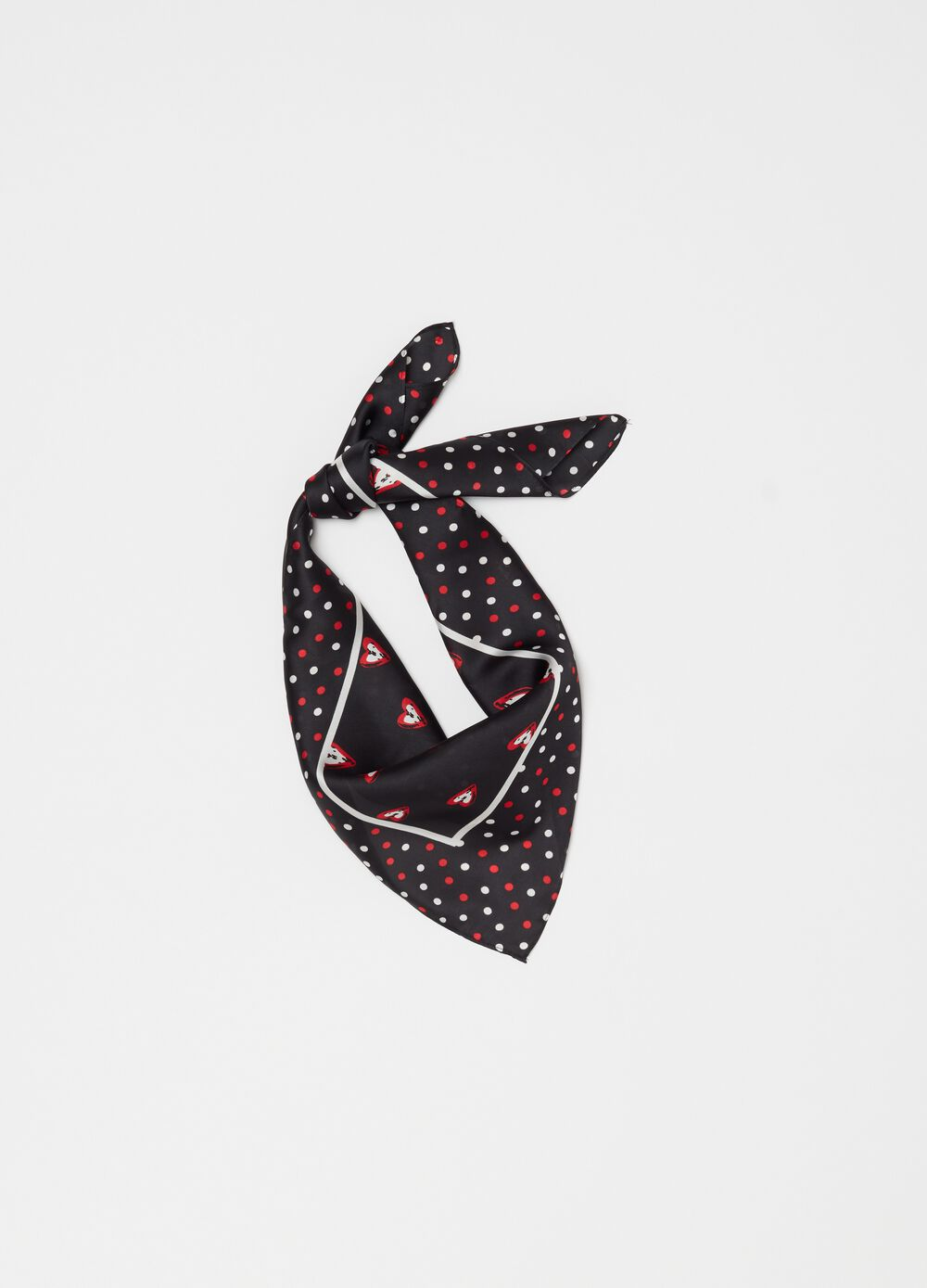 Foulard with polka dots and hearts pattern