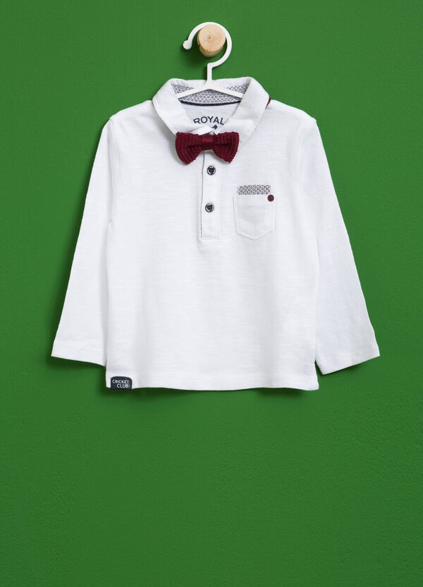Polo shirt in cotton with small pocket and bow tie | OVS