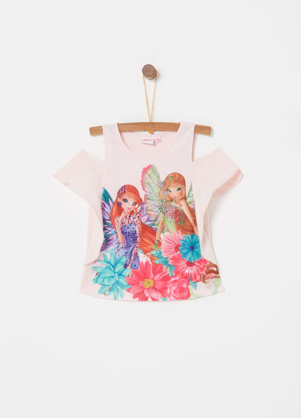 Stretch T-shirt with Winx print and diamantés