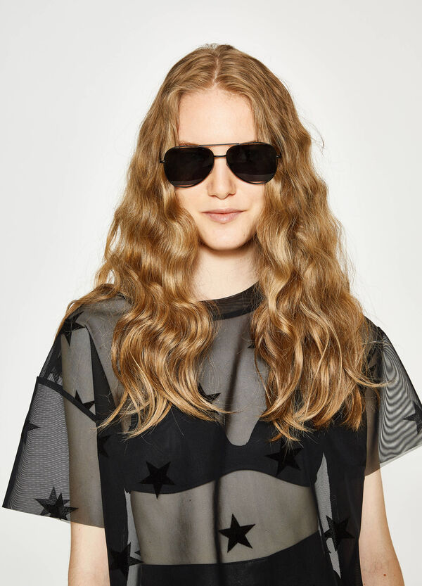 T-shirt in semi-sheer tulle with stars | OVS