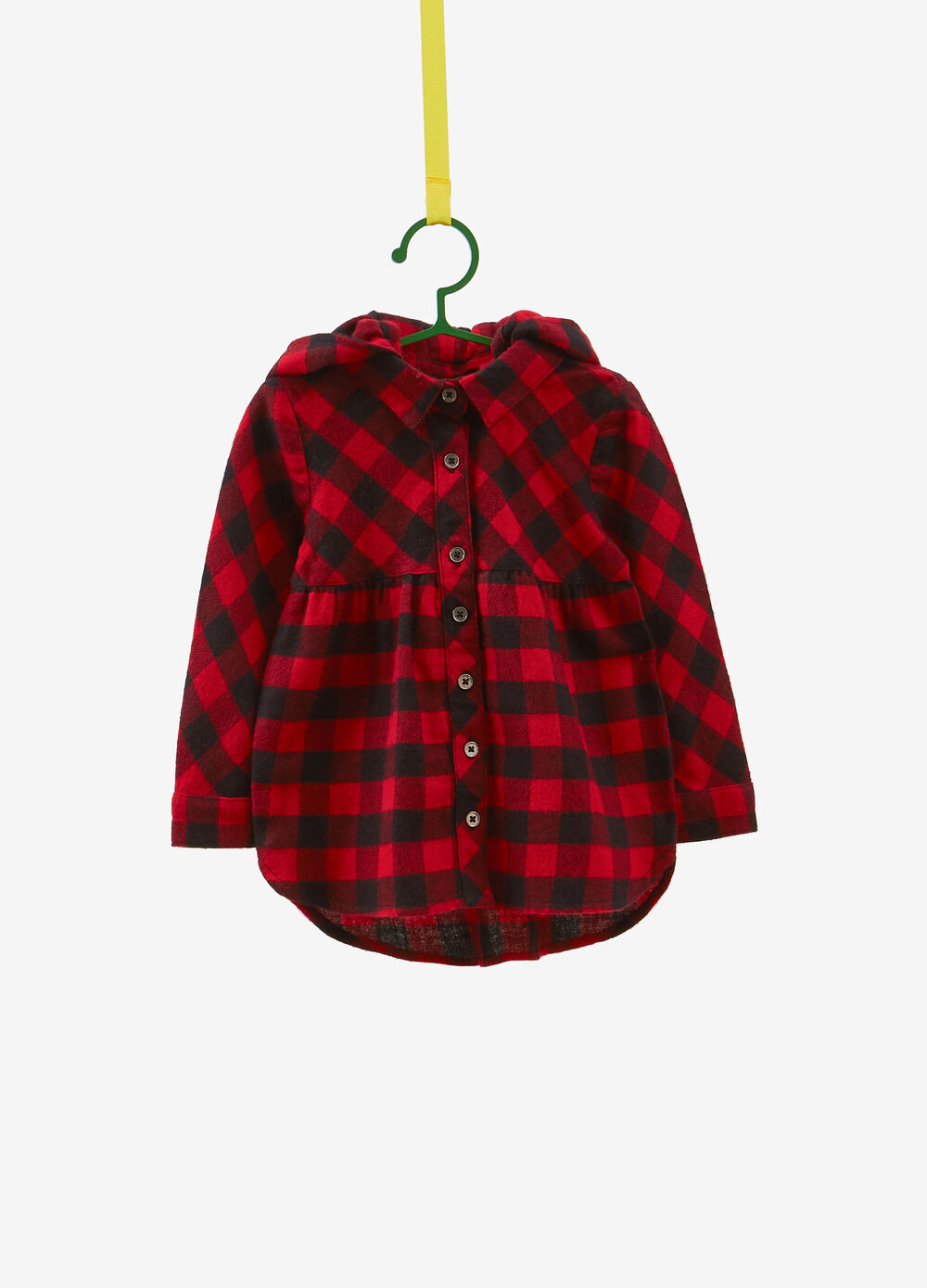 100% cotton shirt with hood and check pattern