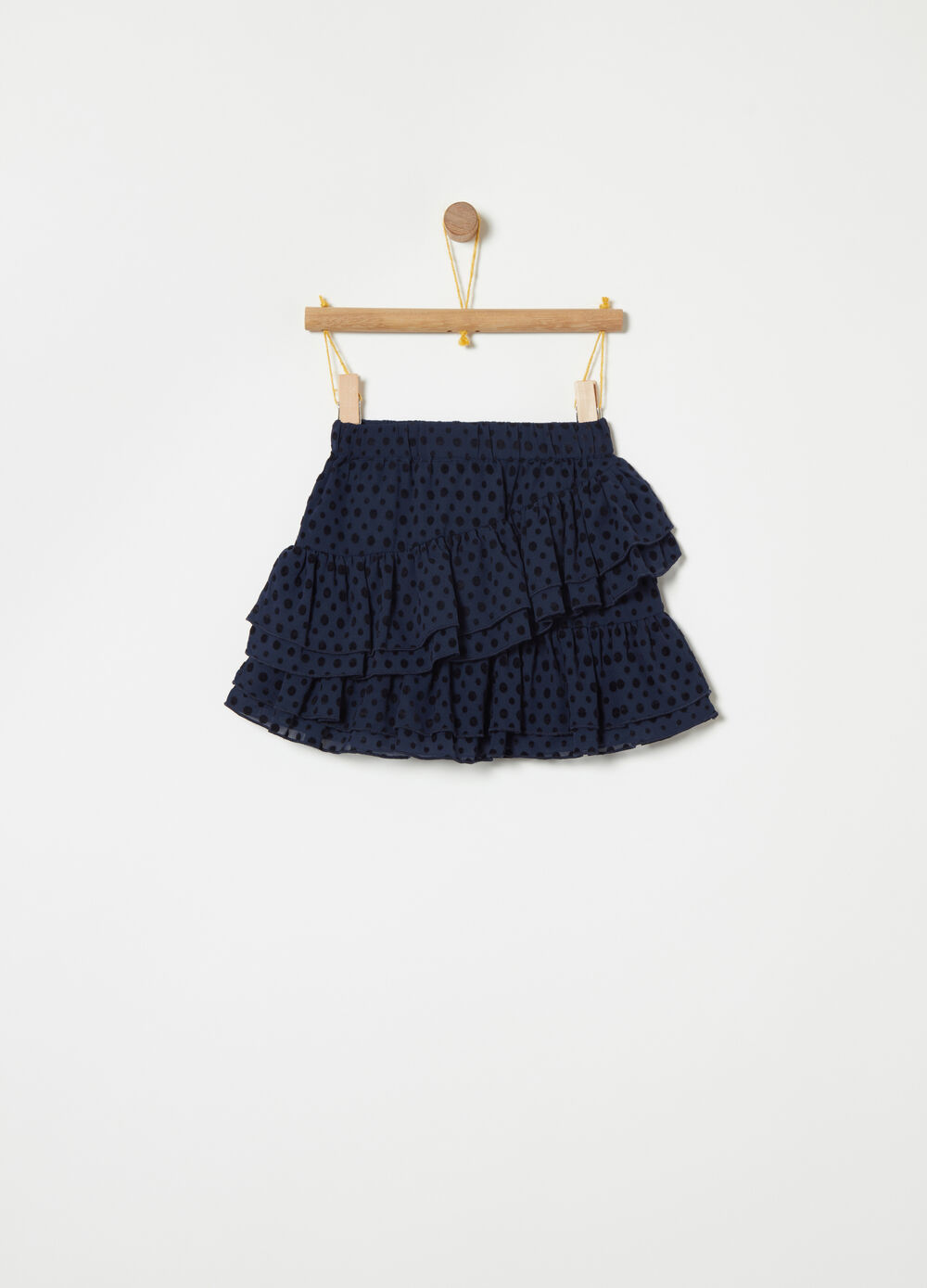 Devoré skirt with flounces and elastic waist