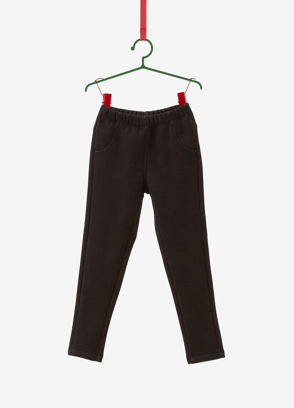 Stretch cotton blend jeggings with pockets