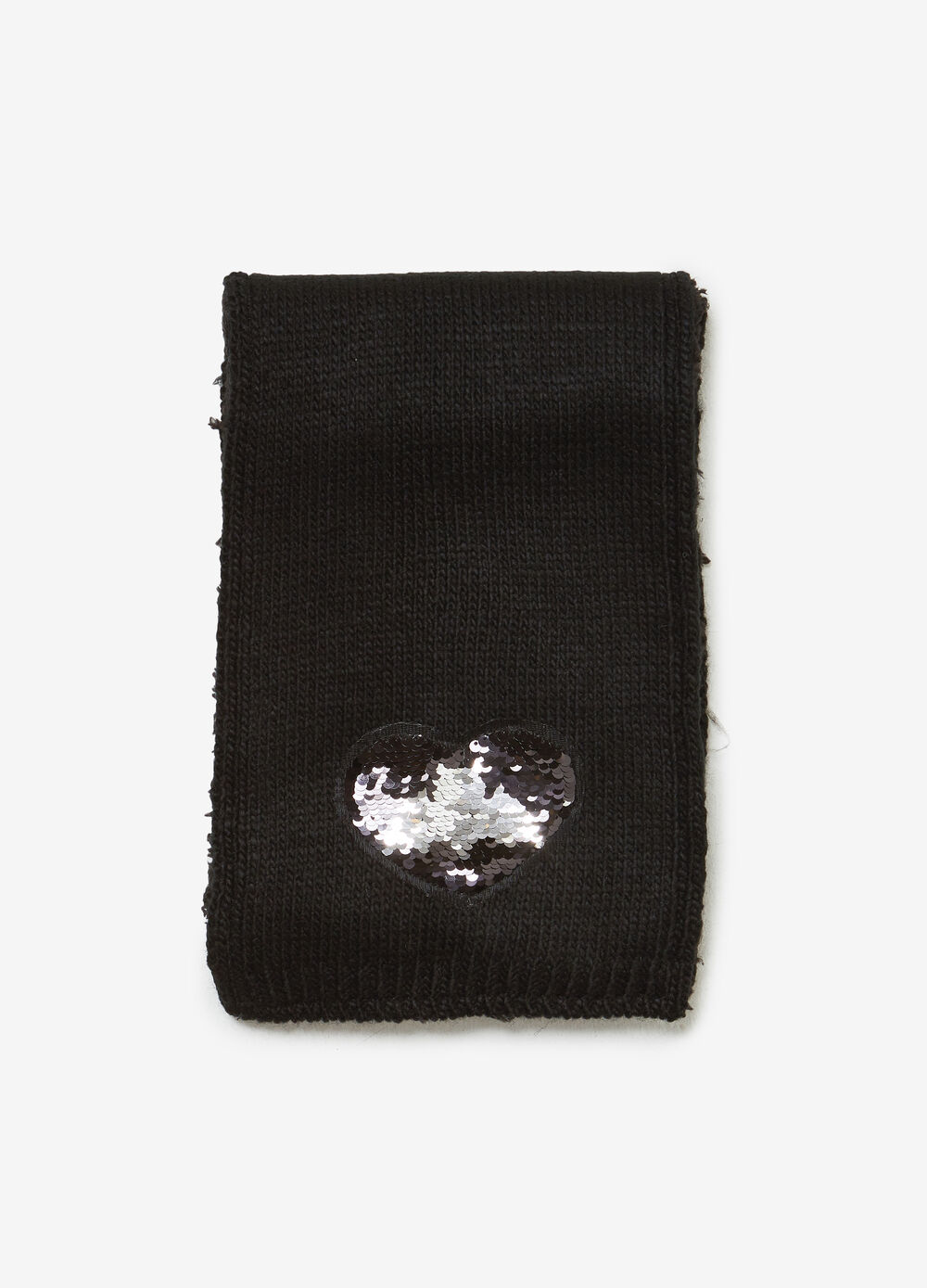 Scarf with heart sequins