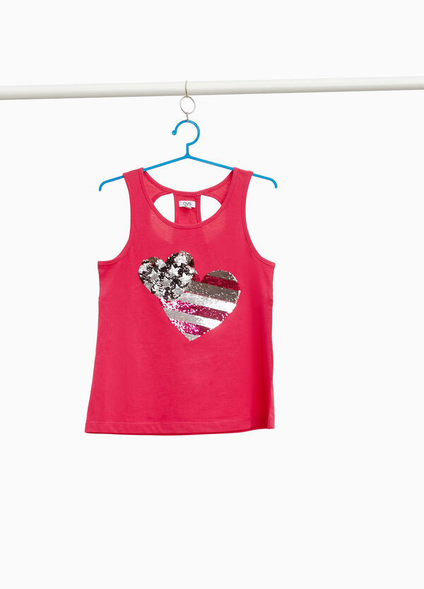 100% cotton top with heart sequins