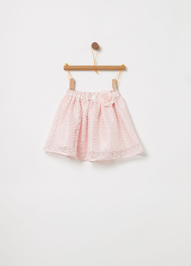 Flounced skirt with floral lace